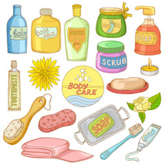 Set of Bath Accessories and Products for Beauty