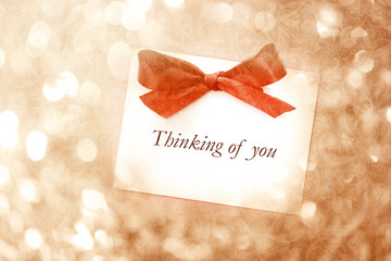 Thinking of you message with abstract light background