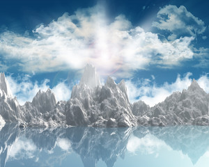 3D render of a mountain range against a sunny sky