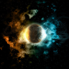 Space background with fire and ice planet