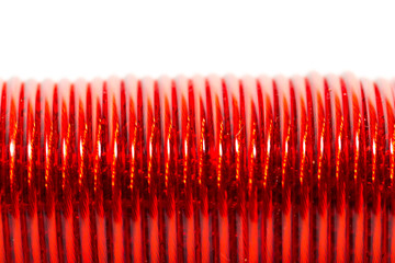 red wire as a backdrop. macro