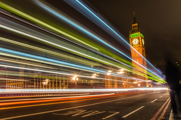 London at Night with Light Trails Left by Passing Cars