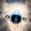 Speedy jet fighter on the sky. Retro style picture.
