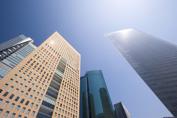 Office buildings under the blue sky, Tokyo prefecture, Japan