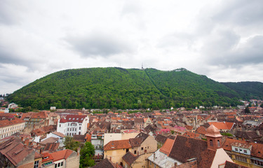 Panoramic view of Brasov city with Tampa mountain on background