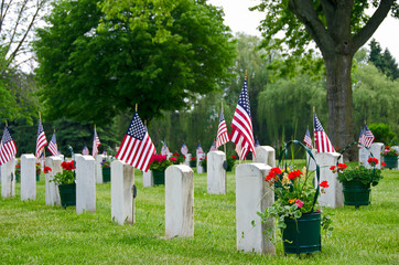 flags on veterans grave