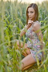 Beautiful Young Woman Outdoors. Enjoy Nature. Meadow