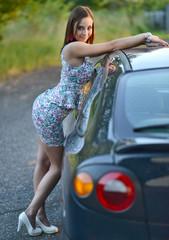 Femme dans la voiture