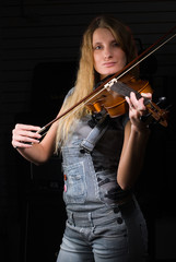 Pretty woman with violin