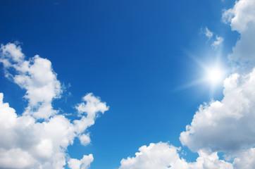 Blue sky and sun.