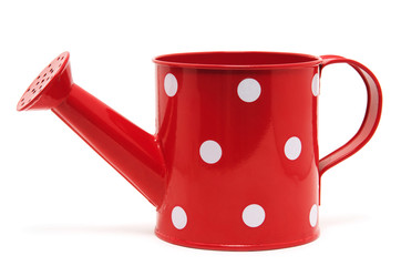 red polka dot watering