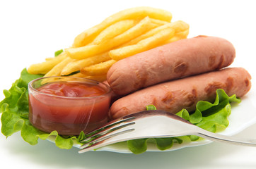 French Fries, Sausages.