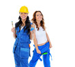 Beautiful young women doing repairs