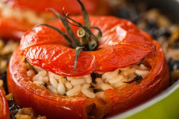 Rice Stuffed Tomato Closeup