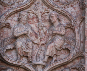 Marble carvings on the Baptistery,  Italy