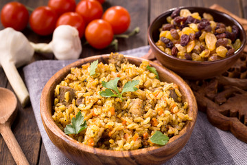 Pilaf with vegetables and raisins