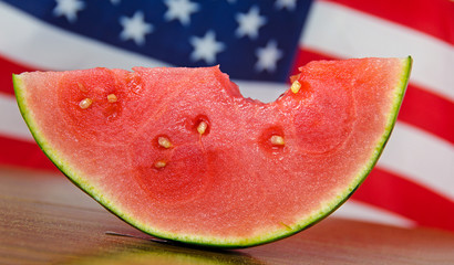 watermelon with flag background