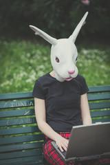 rabbit mask young lesbian stylish hair style woman