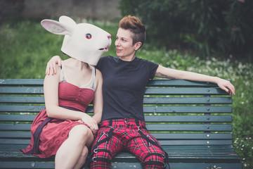 young lesbian stylish hair style woman rabbit mask