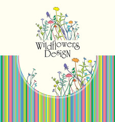 Wildflowers Design. Bright stripes.