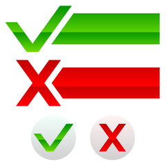 Checkmark and cross, buttons and banners