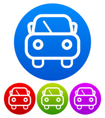 Cute car symbol on colored circles