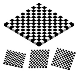 Checkered objects, checkered boards