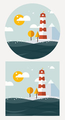 hipster vector lighthouse flat style