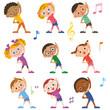 子供達がラジオ体操をする