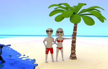 photo of couple on tropical vacation at the seaside