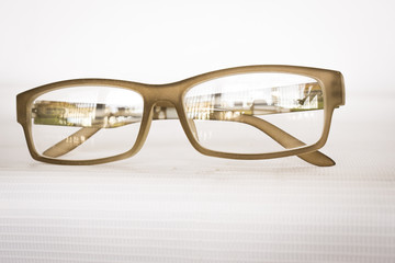 brown eyeglasses