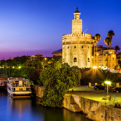 View of Golden Tower (Torre del Oro) of Seville, Andalusia,Spain