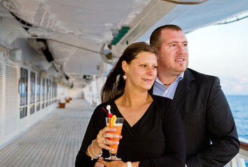 Romantic happy couple on cruise ship