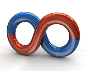 Red and blue infinity symbol