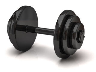 Black dumbbell isolated on white background