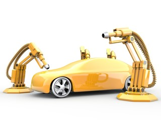 Lackierroboter mit Fahrzeug