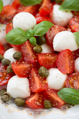 Vertical shot of caprese salad with capers, close-up