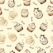 Cupcake seamless pattern background vector ,illustration
