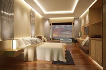 hotel bedroom pool view