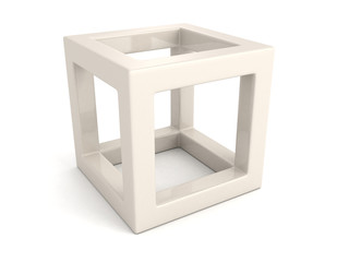 abstract white 3d cube with shadow