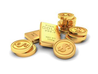 Golden ingots and dollar coins on white background