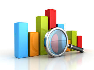 Business success bar graph with magnifying glass