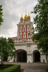 Entrance tower of the monastery, view inside the Novodevichy con