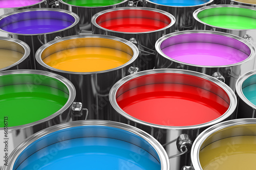 Group of cans color prints. 3D image