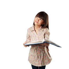 Little asian girl with textbook