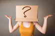 Young lady gesturing with a cardboard box on her head with quest