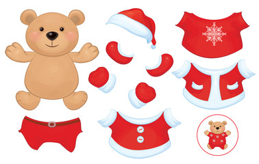 Vector cute  bear toy with  set of Santa Claus costume clothes.