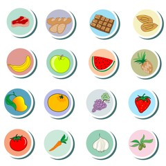 Food objects cartoon Icons