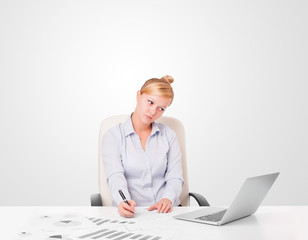 Young businesswoman with plain white copy space