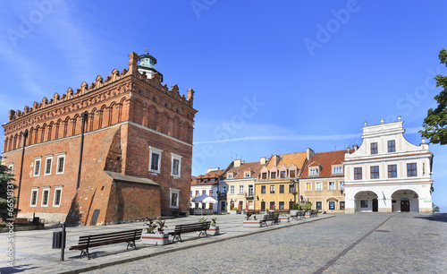 Town Hall and historic houses in Sandomierz, Poland - 66518131